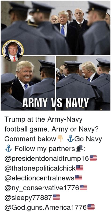 Army Navy Memes - army vs navy trump at the army navy football game army or