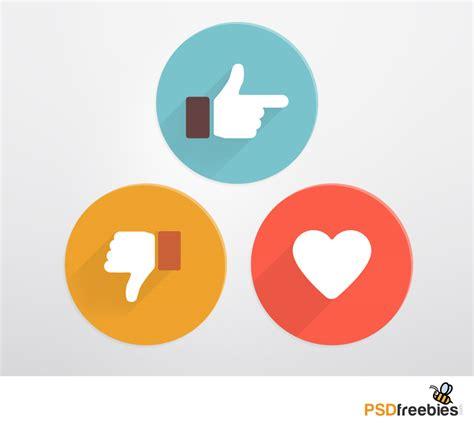 Flat Style Like and Dislike Social Icons PSD   PSDFreebies.com