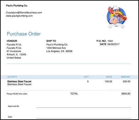 Free Purchase Order Template Instructions How To Create A Purchase Order Quickbooks Purchase Order Template