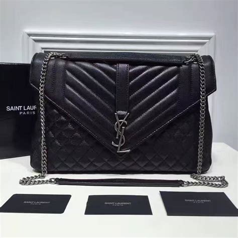 saint laurent large monogram envelope satchel  black