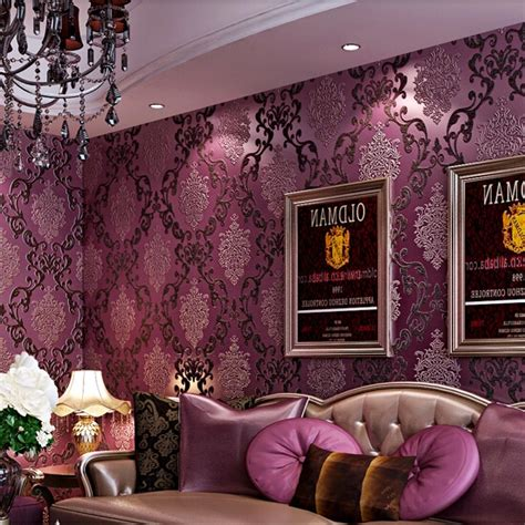 papel de parede european luxury purple 3d stereoscopic