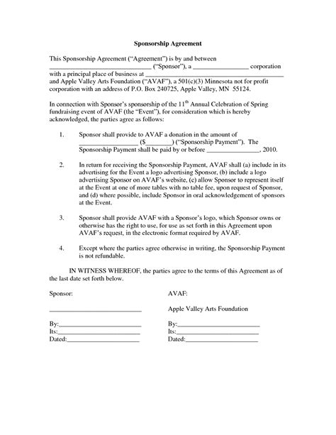 event sponsorship agreement template 10 best images of sponsorship agreement template