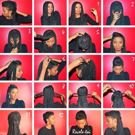 how to put up box braids in a ponytail 10 instructions directing you on how to style box braids