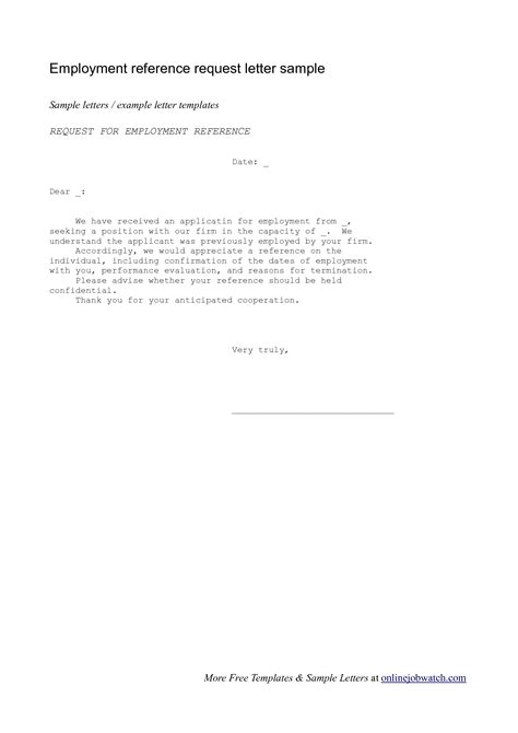 Request Letter For Recommendation Requesting A Reference Letter From An Employer The Letter Sle