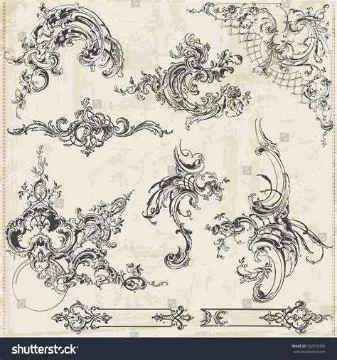 calligraphic vintage design elements vector collection free vector set calligraphic design elements page stock vector