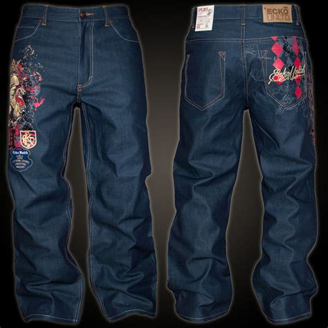 105 Baggy Size 27 30 ecko unltd baggy rhino theory jean in blue baggy style with large print on the leg and