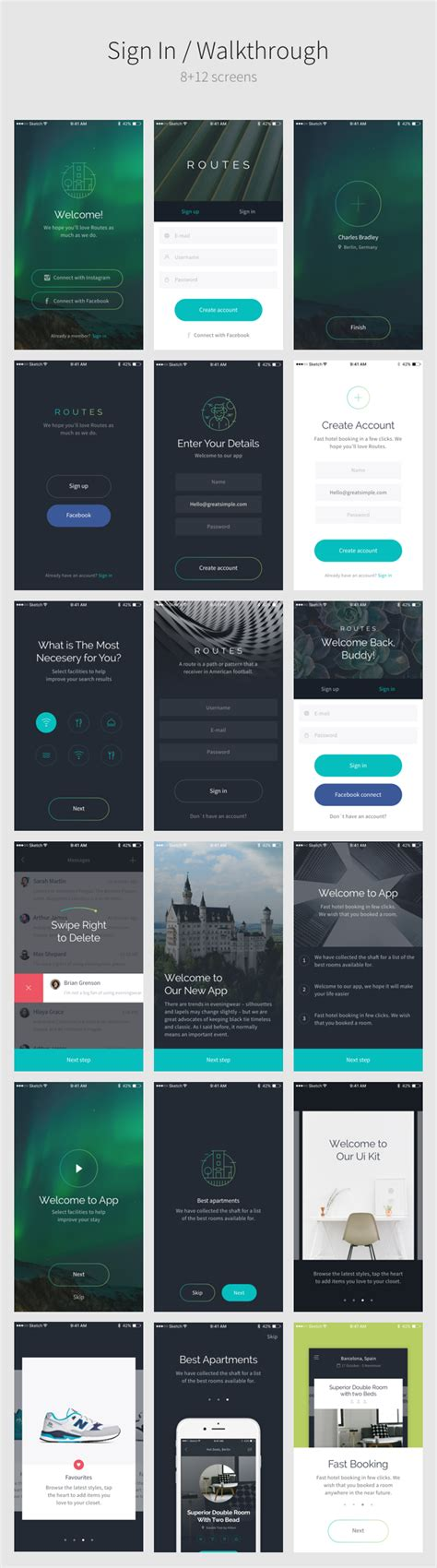 themeforest ui kit routes ui kit 100 ios screens for sketch by