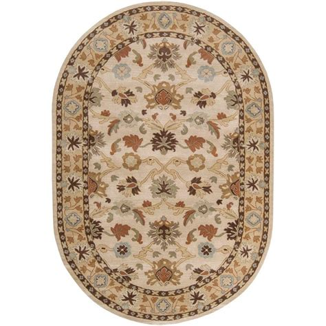 rug as artistic weavers beige 6 ft x 9 ft oval area rug jhn 1010 the home depot
