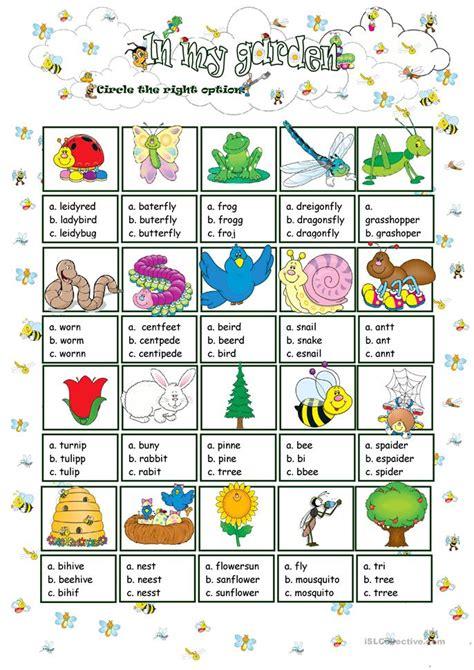 Gardening Verbs In My Garden Choice Worksheet Free Esl