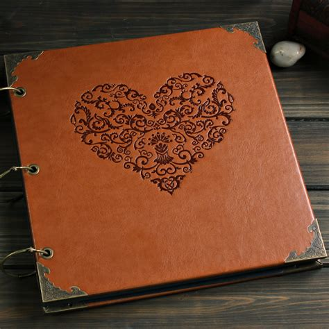 Photo Album Handmade - quality leather cover 12 inch big vintage handmade diy