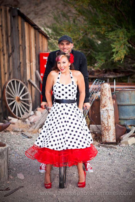 a polkadotted pinup style couples session at eldorado 187 vegas wedding