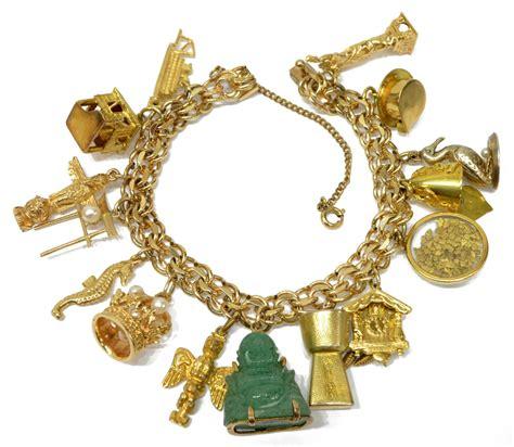 estate 10k 14k 18k gold charm bracelet jo