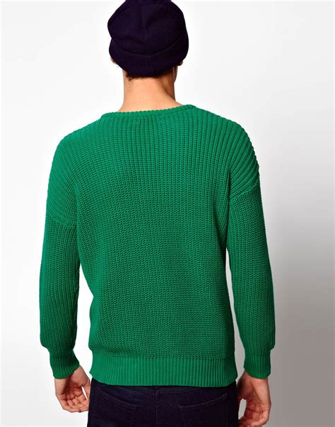 american apparel fisherman jumper in green for lyst