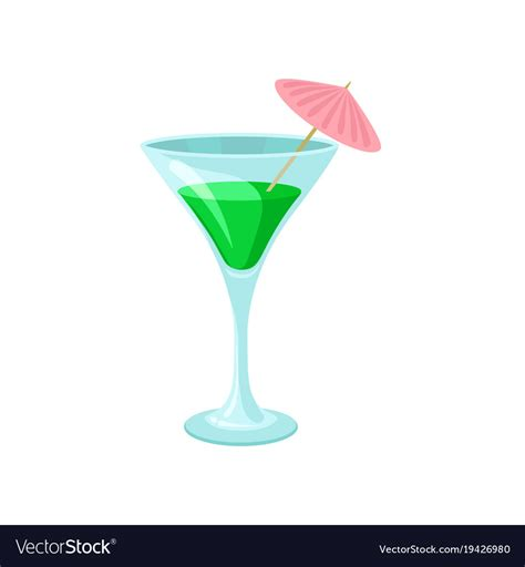 martini glass with umbrella creen cocktail with umbrella in martini glass vector image