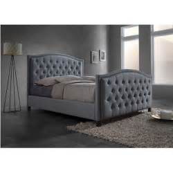 Upholstered Bed With Footboard Baxton Studio Sarter Contemporary Button Tufted Grey