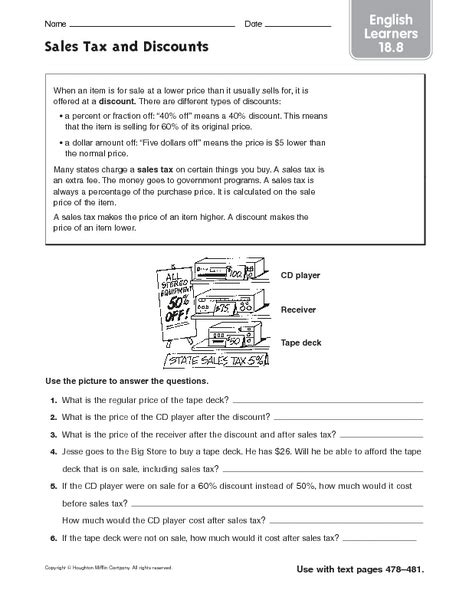 Discount Worksheets by Sales Tax And Discount Math Worksheets Sales Best Free