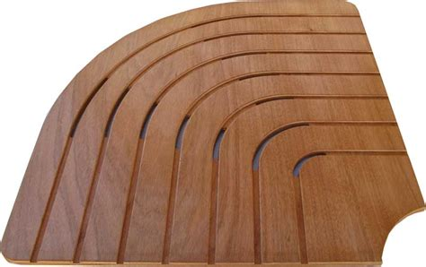 semicircular shower footboard in marine plywood corner