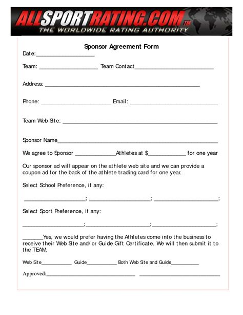 sponsor forms templates free 10 best images of sponsorship agreement template