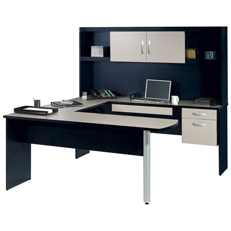 Black U Shaped Desk Bestar Inspace U Shaped Desk With Hutch Black And Granite At Hayneedle