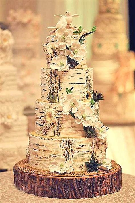 42 Must See Rustic Woodland Themed Wedding Cakes   WEDDING