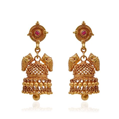 Gold Angti Disain by Earrings Antique Annapakshi Handmade Jimmiki Grt Jewellers