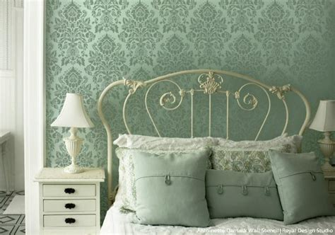 bedroom stencil designs diy vintage style ideas with the antoinette damask