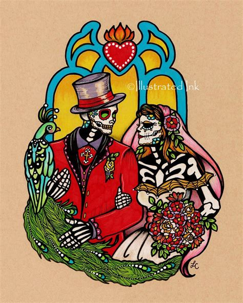 day of the dead couple tattoos dia de los muertos wedding day of the dead print 5