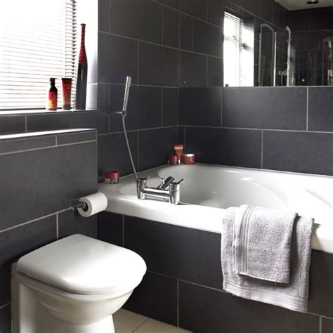 black bathroom tile ideas charcoal tiled bathroom black and white bathroom designs housetohome co uk