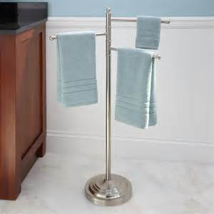 Free Standing Towel Racks For Bathrooms Brushed Nickel by Collinsdale Free Standing Swing Arm Towel Stand Brushed