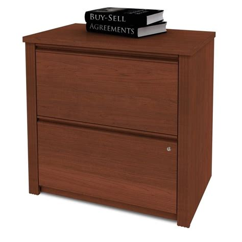 Bestar Prestige 2 Drawer Lateral Wood File Cognac Cherry Lateral Wood Filing Cabinet