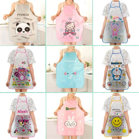 apron pattern cute 12 pattern women cute cartoon waterproof apron kitchen