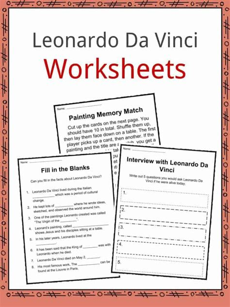 leonardo da vinci biography for students leonardo da vinci worksheet bluegreenish