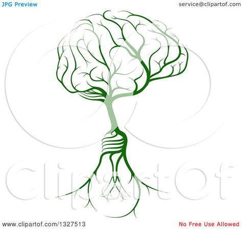 brain tree light up clipart of a green tree with light bulb roots and a brain