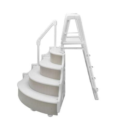 blue wave grand entrance step with ladder for above ground
