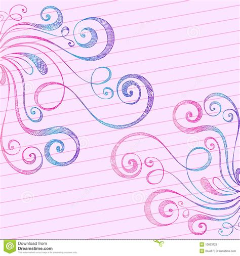 how to doodle in a notebook sketchy doodle swirls on notebook paper royalty free stock