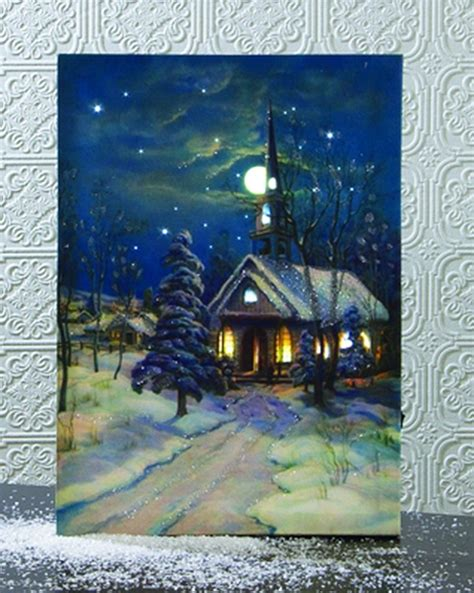 lighted canvas with timer lighted snowy church canvas with timer difranz gifts