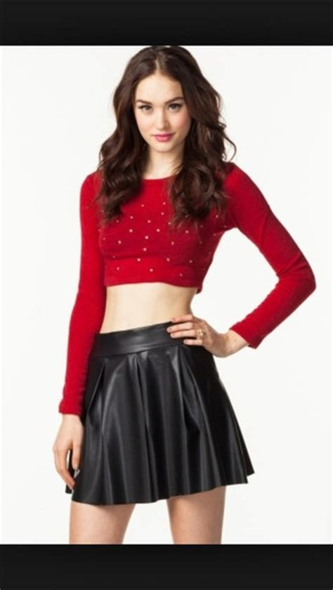 skirt blouse crop studs high waisted sweater where did u