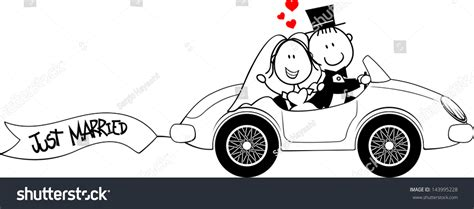 Wedding Falls Out Of Car by Groom On Car Isolated On Stock Vector 143995228