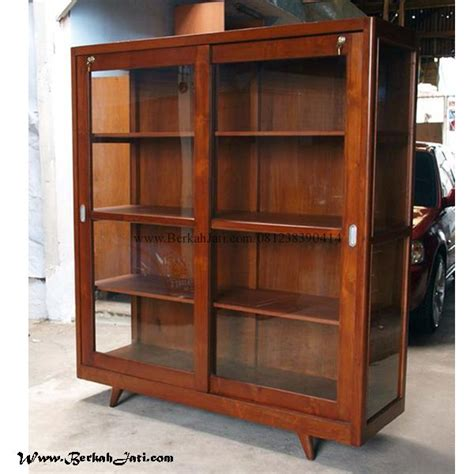 Rak Buku Kaca rak buku minimalis pintu kaca berkah jati furniture