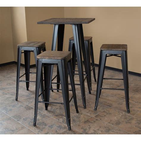 bar table set amerihome loft style 30 in bar table set in black with