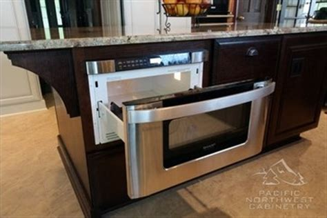kitchen island with microwave drawer pull out stainless microwave drawer in island kitchen
