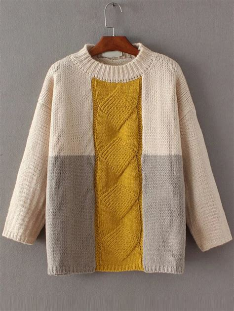 color block knit top color block cable knit drop shoulder sweater shein sheinside