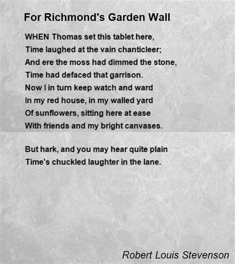 For Richmond S Garden Wall Poem By Robert Louis Stevenson Walled Garden Poem