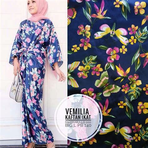 Dress Navy Blue Bunga Navy baju dress kaftan ikat panjang motif bunga cantik