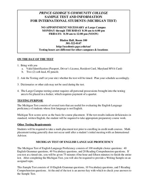 College Placement Test Essay by Pgcc Michigan Sle Test