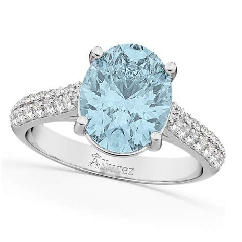 oval aquamarine engagement ring 18k white gold 4