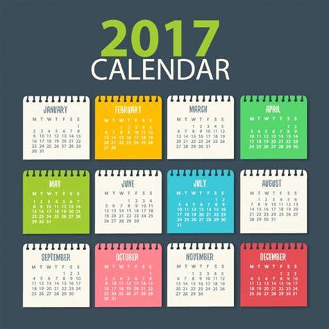 Calendã Em Semanas 2017 Calendar Template Vector Free
