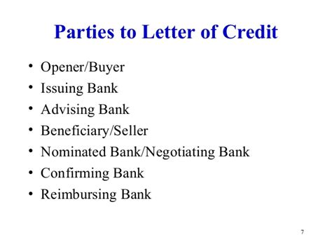 Nominated Bank Letter Of Credit Letter Of Credit