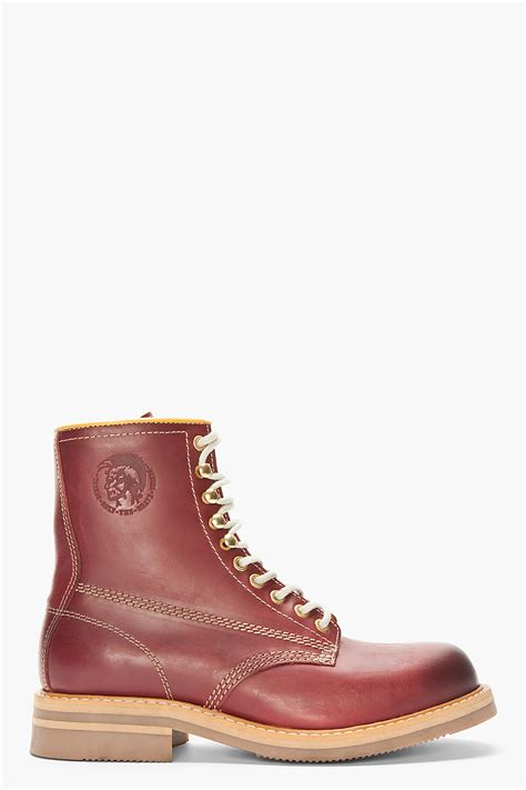 burgundy leather boots diesel burgundy leather skillo boots in for