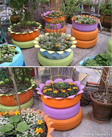 Tire Planters Garden moonbeams fireflies where the rubber meets the garden